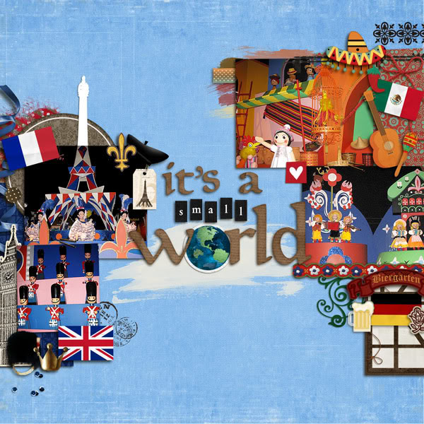"""Digital Scrapbook page created by kimbytx featuring """"Around The World"""" by Sahlin Studio and Britt-ish Designs"""