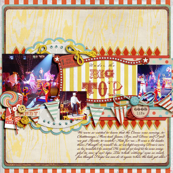 "Digital Scrapbook page created by becca1976 featuring ""Vintage Carnival"" by Sahlin Studio"