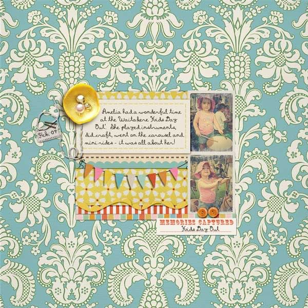 "Digital Scrapbook page created by kateypie featuring ""Vintage Carnival"" by Sahlin Studio"
