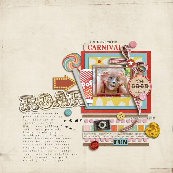 "Digital Scrapbook page created by lacidock featuring ""Vintage Carnival"" by Sahlin Studio"