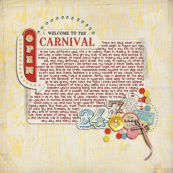 "Digital Scrapbook page created by lvelina featuring ""Vintage Carnival"" by Sahlin Studio"