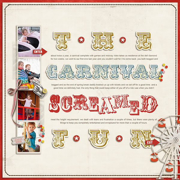 "Digital Scrapbook page created by onegirloneboy featuring ""Vintage Carnival"" by Sahlin Studio"