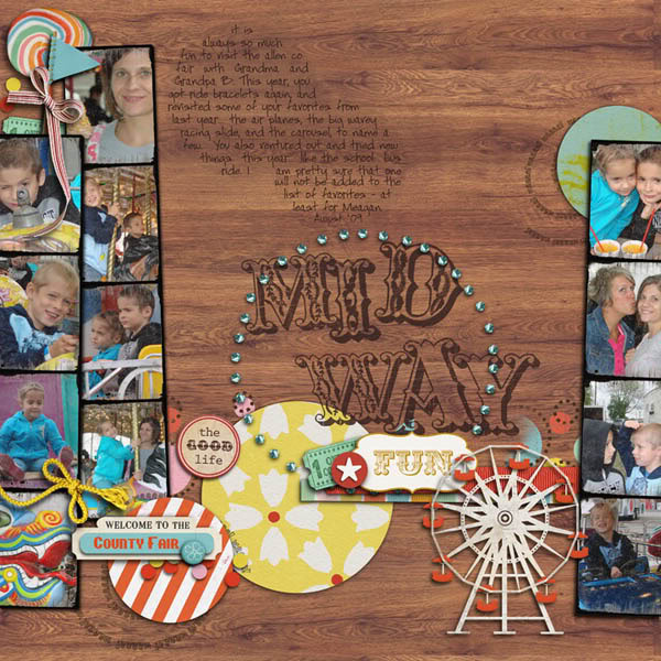 "Digital Scrapbook page created by rebeccah featuring ""Vintage Carnival"" by Sahlin Studio"