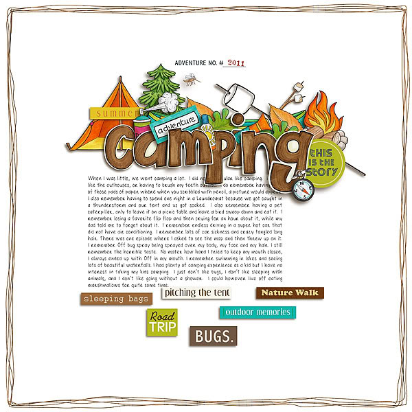 """Digital Scrapbook page created by cherryberry featuring """"Summer Camp"""" by Sahlin Studio"""