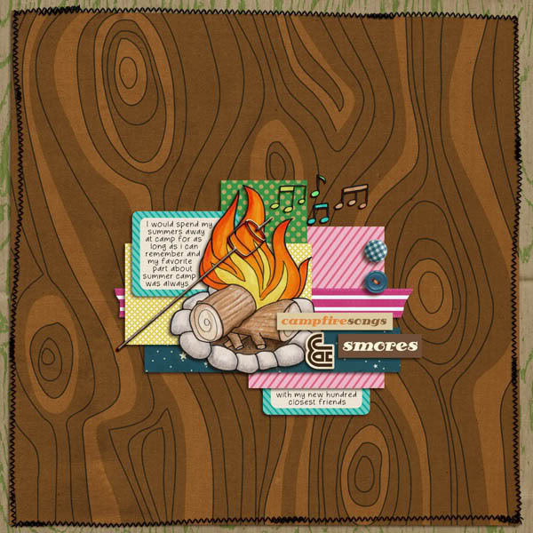"""Digital Scrapbook page created by talktoheather featuring """"Summer Camp"""" by Sahlin Studio"""