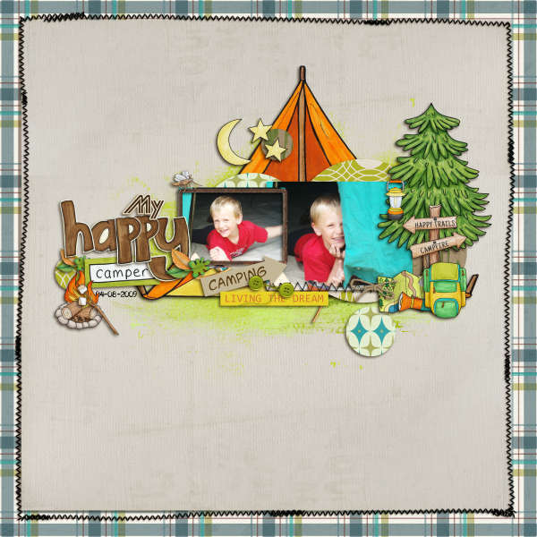 """Digital Scrapbook page created by coco featuring """"Summer Camp"""" by Sahlin Studio"""