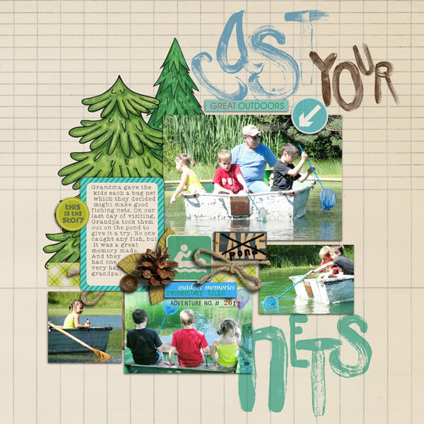 """Digital Scrapbook page created by rebeccah featuring """"Summer Camp"""" by Sahlin Studio"""