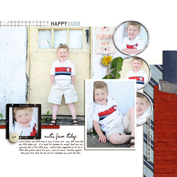 "Boy Digital Scrapbook page created by kristasahlin featuring ""Grunge"" by Sahlin Studio"