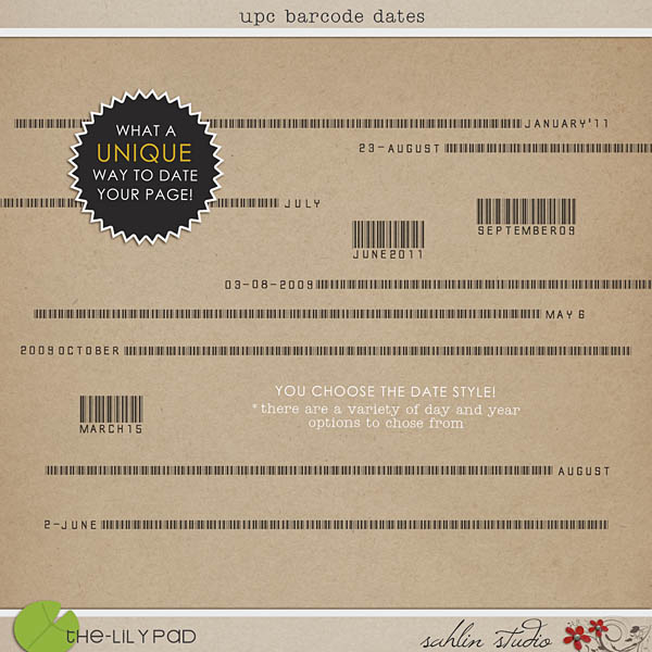 upc barcode dates by sahlin studio