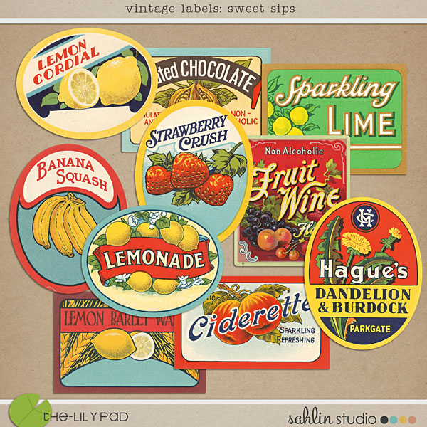 vintage drink labels by sahlin studio