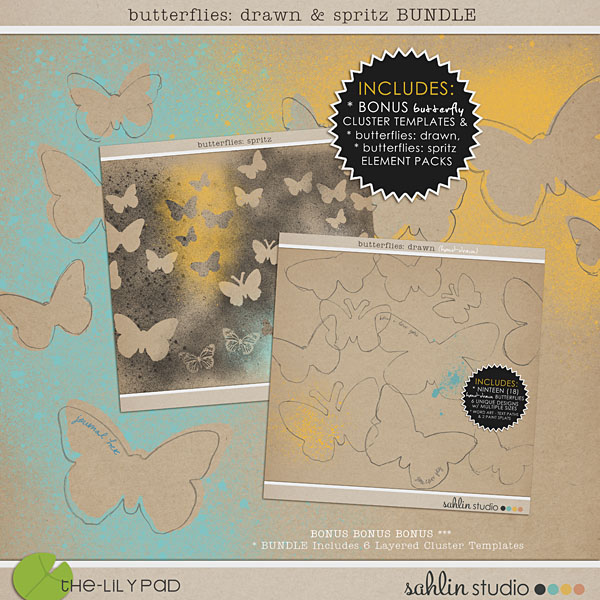 butterflies: drawn & spritz BUNDLE + BONUS