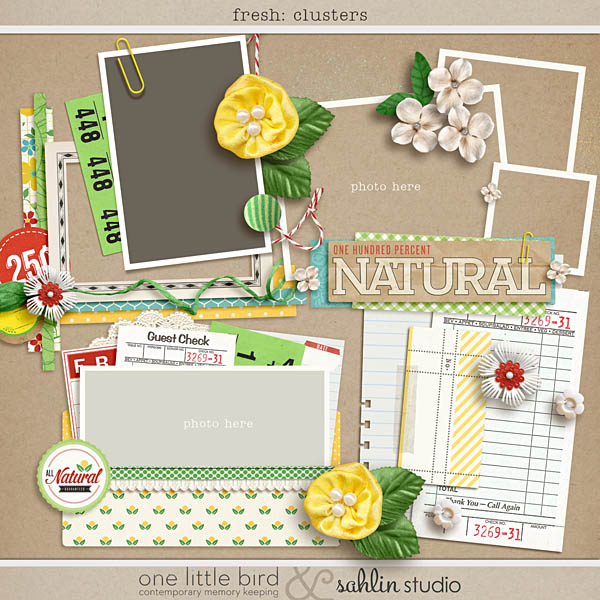 fresh: clusters digital scrapbook sahlin studio one little bird