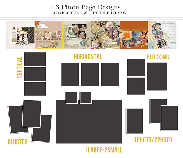 Scrapbook Page Designs Using Three Photos