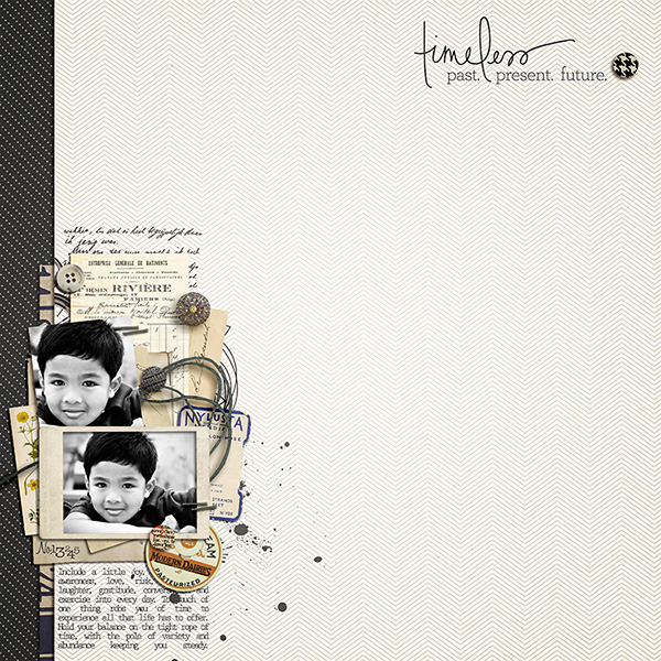 layout by margelz featuring Layerable Ephemera Paper Stacks by Sahlin Studio