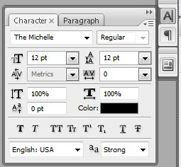 Character palette