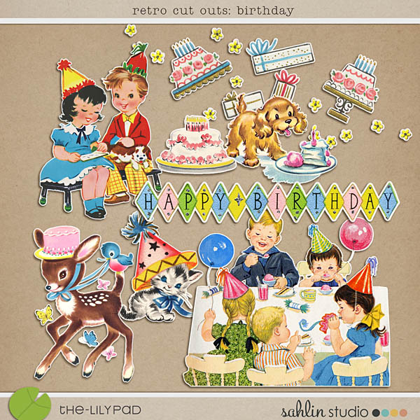 retro cut outs: birthday by sahlin studio