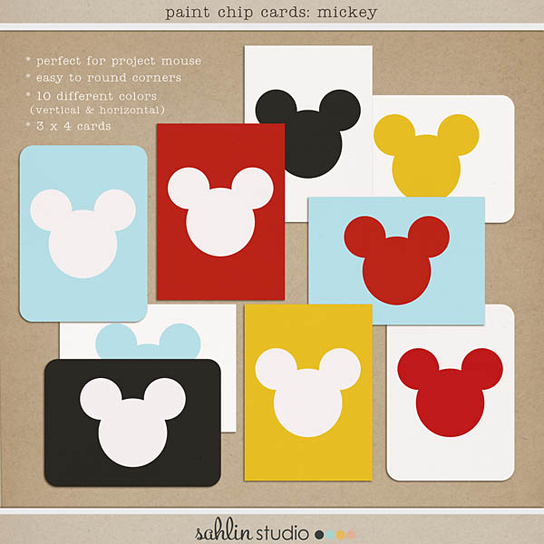 Mickey Paint Cards by Sahlin Studio FREEBIE