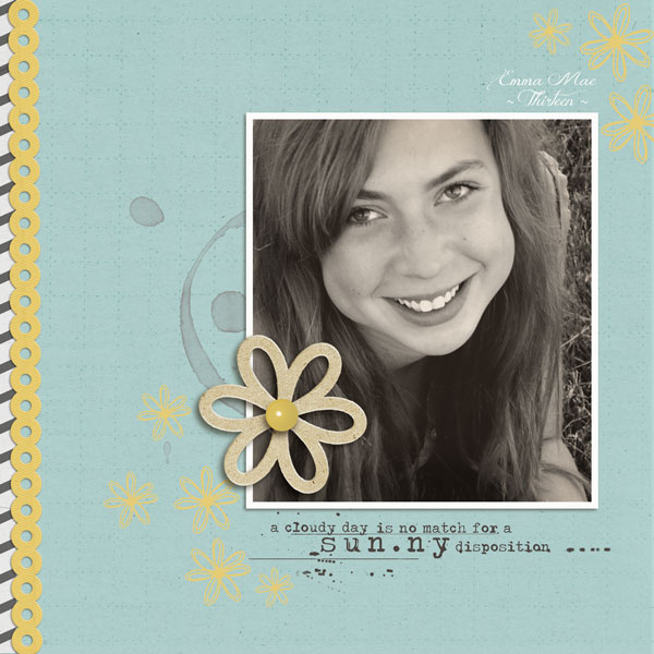 digital scrapbook layout inspiration by Lor