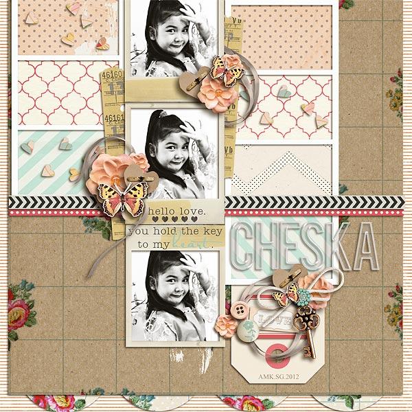 digital scrapbook layout inspiration by scrappydonna
