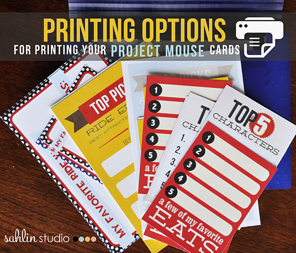 Printing Option for Printing Digital Project Life / Pocket Cards / Project Mouse