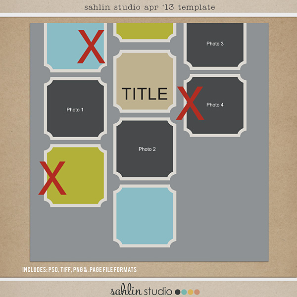 Sahlin Studio April 2013 '13 FREE Scrapbook Template - PSD, png, page files
