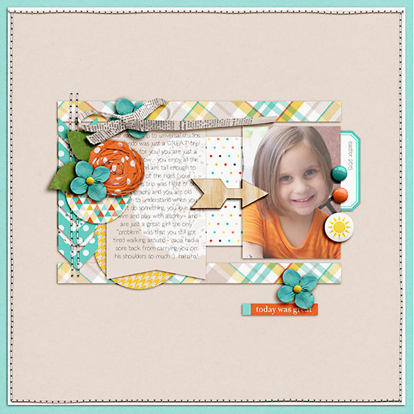 "Digital Scrapbook Page created by Dana featuring ""Wood Veneer - Arrows"" by Sahlin Studio"