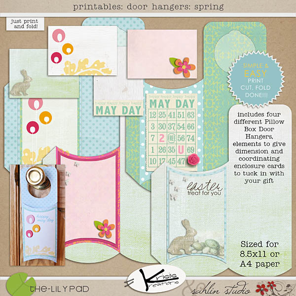 Digital and Hybrid Scrapbook kit Printables Spring Door Hangers by Sahlin Studio and Krisi's Kreations