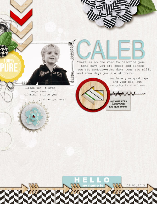 "Digital Scrapbook Page created by askings featuring ""Wood Veneer - Arrows"" by Sahlin Studio"