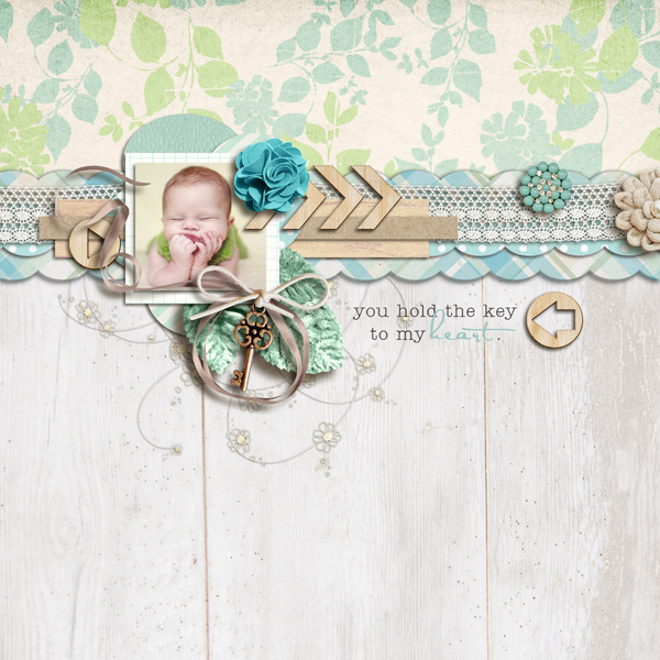 "Digital Scrapbook Page created by sucali featuring ""Wood Veneer - Arrows"" by Sahlin Studio"
