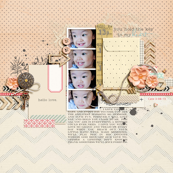 "Digital Scrapbook Page created by dianeskie featuring ""Wood Veneer - Arrows"" by Sahlin Studio"