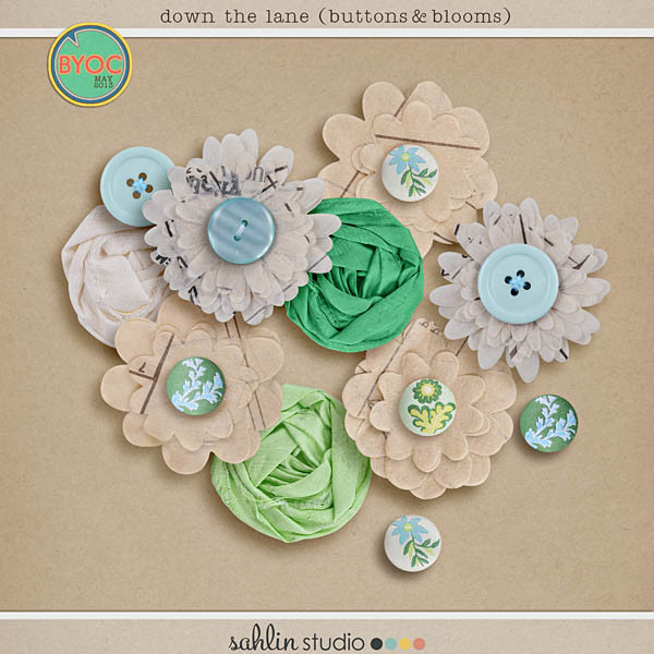 down the lane (buttons & blooms) by sahlin studio