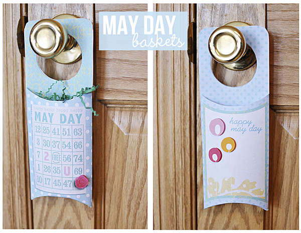 Digital and Hybrid Scrapbook project may day baskets featuring Printables: Door Hangers: Spring  by Sahlin Studio