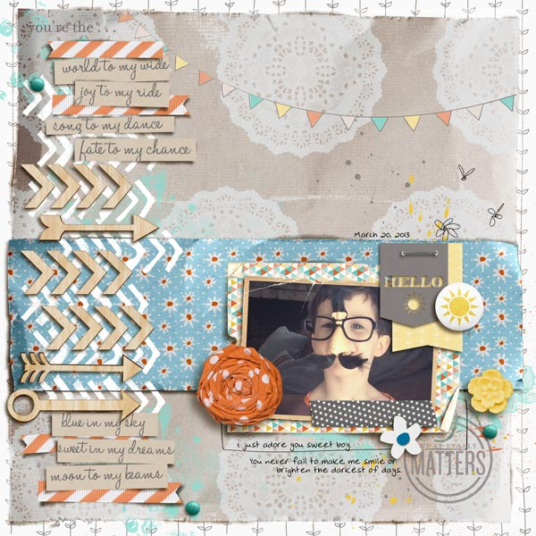 "Digital Scrapbook Page created by mommy2boyz featuring ""Wood Veneer - Arrows"" by Sahlin Studio"