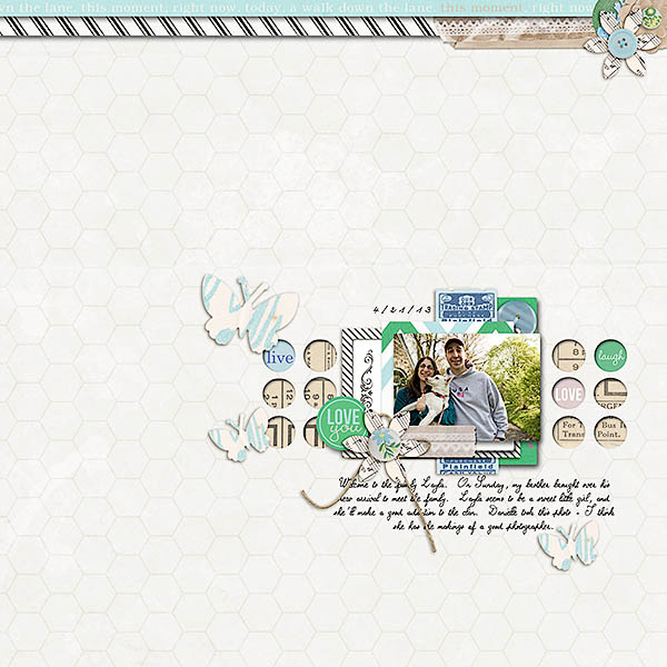 "Digital Scrapbook page created by TeaWithLemon featuring ""Down the Lane"" by Sahlin Studio"