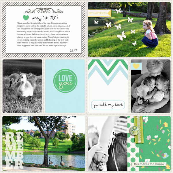 Digital Project Life page created by TeresaVictor featuring Down the Lane by Sahlin Studio