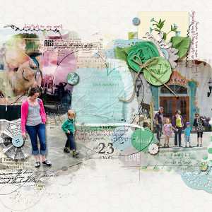 "Digital Scrapbook page created by amberr featuring ""Down the Lane"" by Sahlin Studio"