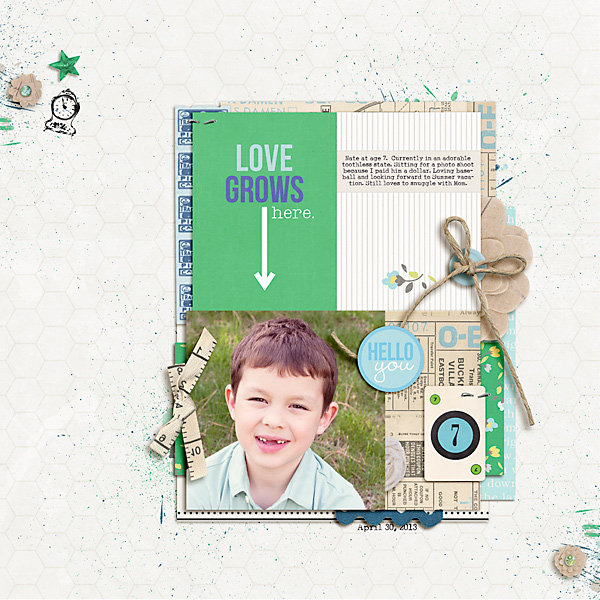 "Digital Scrapbook page created by carolee featuring ""Down the Lane"" by Sahlin Studio"
