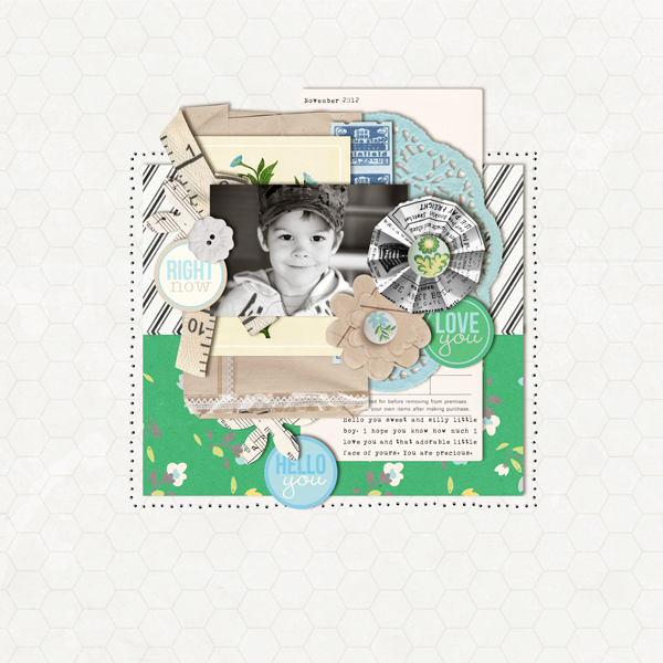 Digital Scrapbook page created by crystalbella77 featuring Down the Lane by Sahlin Studio