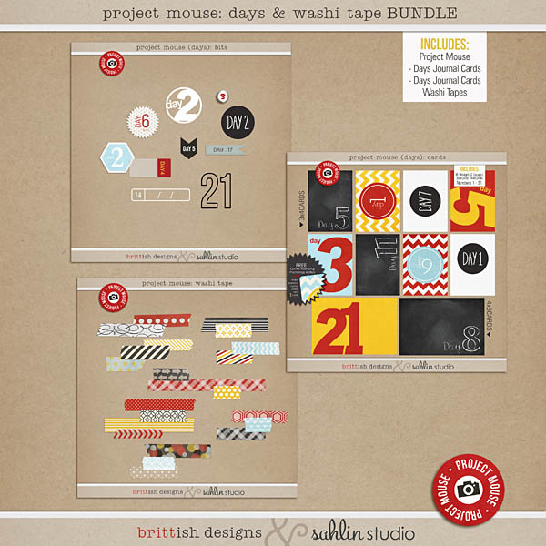 Project Mouse: Days & Washi Tape Bundle by sahlin studio & britt-ish designs