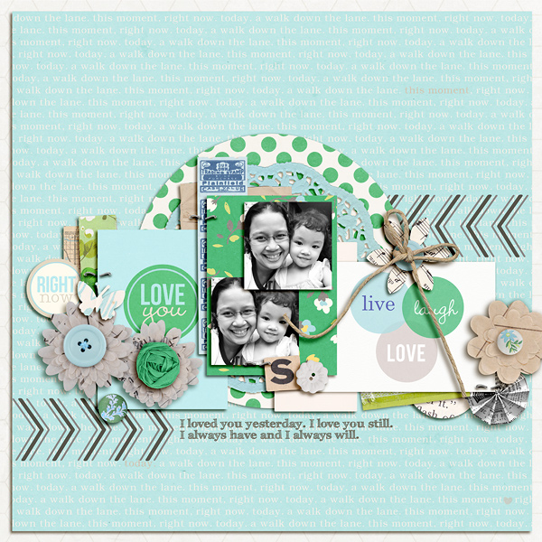 "Digital Scrapbook page created by dianeskie featuring ""Down the Lane"" by Sahlin Studio"