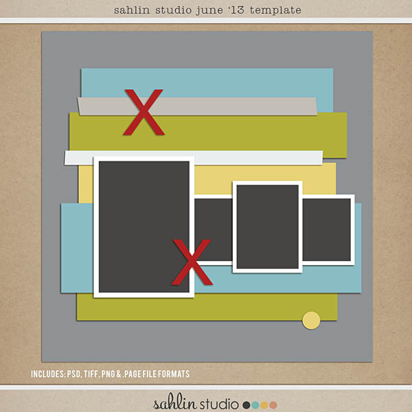 Sahlin Studio June 2013 Ad inspired FREE Scrapbook Template