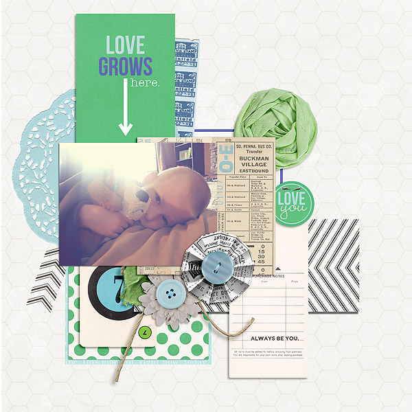 "Digital Scrapbook page created by mamatothree featuring ""Down the Lane"" by Sahlin Studio"