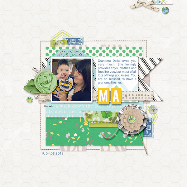 "Digital Scrapbook page created by raquels featuring ""Down the Lane"" by Sahlin Studio"
