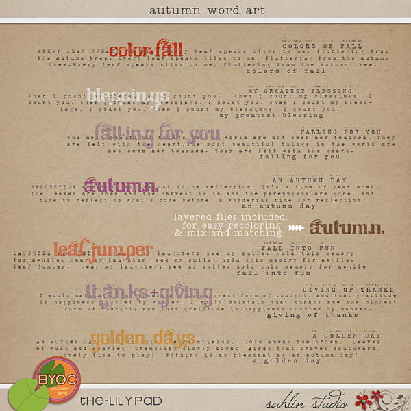 Autumn Word Art by Sahlin Studio