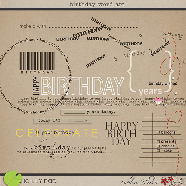 Birthday Word Art by Sahlin Studio