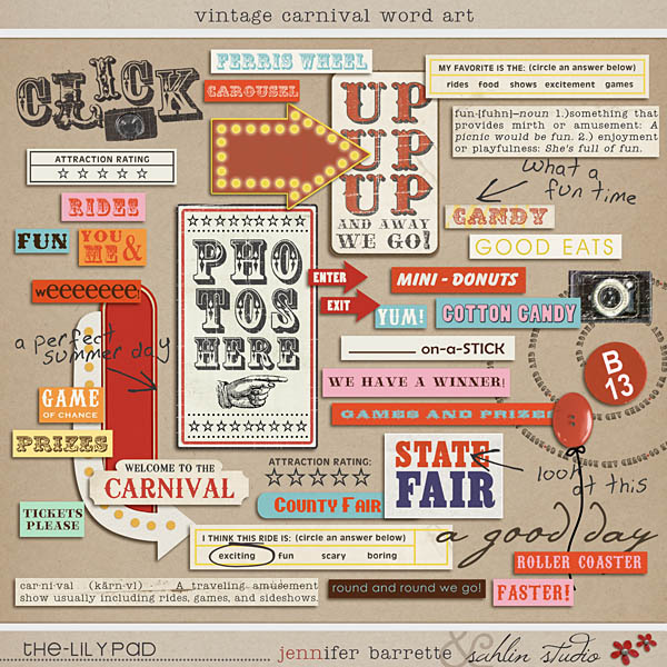 Vintage Carnival Word Art by Sahlin Studio and Jenn Barrette