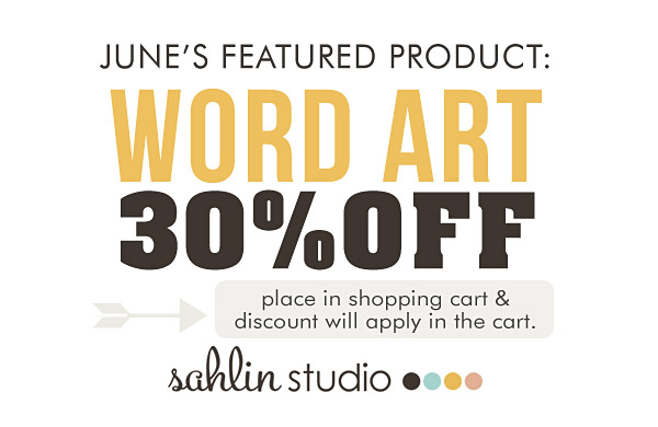 sahlin studio june feature product: word art - 30%OFF