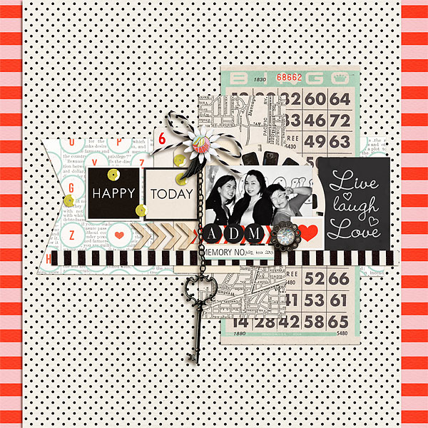 Digital Scrapbook page created by scrappydonna featuring Melon Sorbet by Sahlin Studio