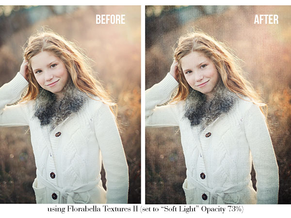 Photo Using Texture Overlays from Florabella Texture Set II, set to Soft Light Opacity 75%