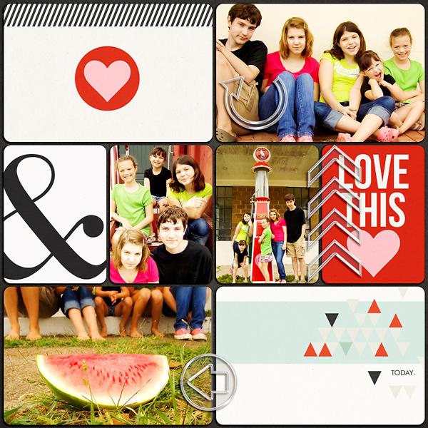 "Digital Scrapbook page created by misskim featuring ""Acrylic: Arrows"" by Sahlin Studio"